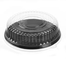 "Par-Pak 51230-C 12-1/2"" Round Black Catering Tray With Lid - 25 / CS"