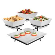 Gourmet Display DE1020 Metalina Stand with Melamine Bowls And Platter