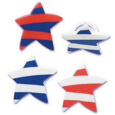 Bakery Crafts F-68 Red White & Blue Star Molded Rings - 144 / BG