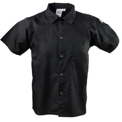 Chef Revival® CS006BK-L Black Large Cook's Shirt With Snaps