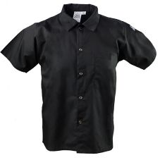 Chef Revival® CS006BK-S Black Small Cook's Shirt With Snaps