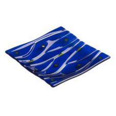 "Steelite 6527B741 Creations Blue Glass 6"" Square Riven Plate - 12 / CS"