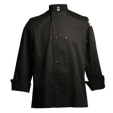 Chef Revival® J061BK-L Black Large 7.5 Oz. Poly-Cotton Jacket