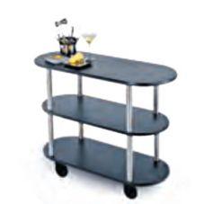 Lakeside® 36200-11 Mahogany Finish 3-Tier Oval Serving Cart