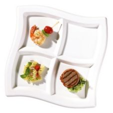 "EMI Yoshi® White Plastic 4 Compartment 10"" Wave Plate"