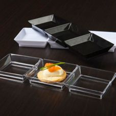 "EMI Yoshi® EMI-623-CL 7.5 x 2.5"" 3-Compartment Dish - 200 / CS"