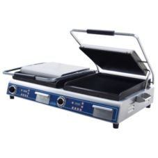 Globe Food GSGDUE14D Bistro 14 In. Dual Panini Grill w/ Smooth Plates