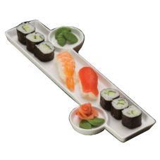 "American Metalcraft 13 x 6"" Sushi Plate with Built In Sauce Cup"