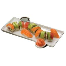 "American Metalcraft 13"" Sushi Plate with Built In Sauce Cup"