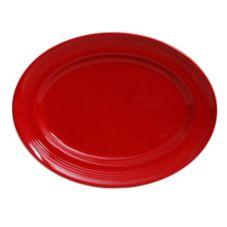 "Tuxton CQH-136 Concentrix 13.75"" Cayenne Oval Platter - 6 / CS"