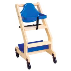 Koala Kare KB318-04 Blue Seat Natural Wood Bistro High Chair