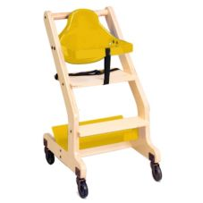 Koala Kare Yellow Seat Natural Wood Bistro High Chair