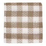 "John Ritzenthaler 201-00 12"" Square Taupe / White Check Dishcloth"