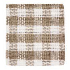 "Ritz® 201-00 White / Taupe 12"" Square Kitchen Towel"
