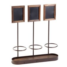 American Metalcraft WBWR3 Three-Bottle Display with Securit Chalkboard