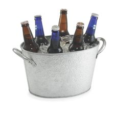 "TableCraft GT159 Galvanized Steel 15"" x 9"" Oval Beverage Tub"