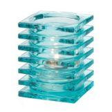 Hollowick® 1501AQ-4 Aqua Stacked Square Block Glass Lamp - 4 / PK