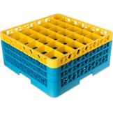 Carlisle OptiClean 36 Compartment Blue/Yellow Glass Rack W/ 3 Extender