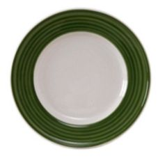 "Tuxton China Eggshell 7-1/2"" Plate with Spring Green Brush"