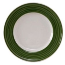 "Tuxton China Eggshell 11-1/4"" Plate with Spring Green Brush"
