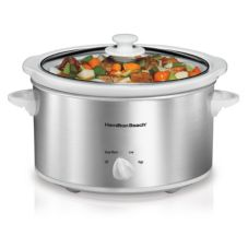 Hamilton Beach 33140V Clear Lid Silver 4 Qt. Slow Cooker