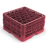 Vollrath Burgundy 30 Compartment Glass Rack with 4 Extenders