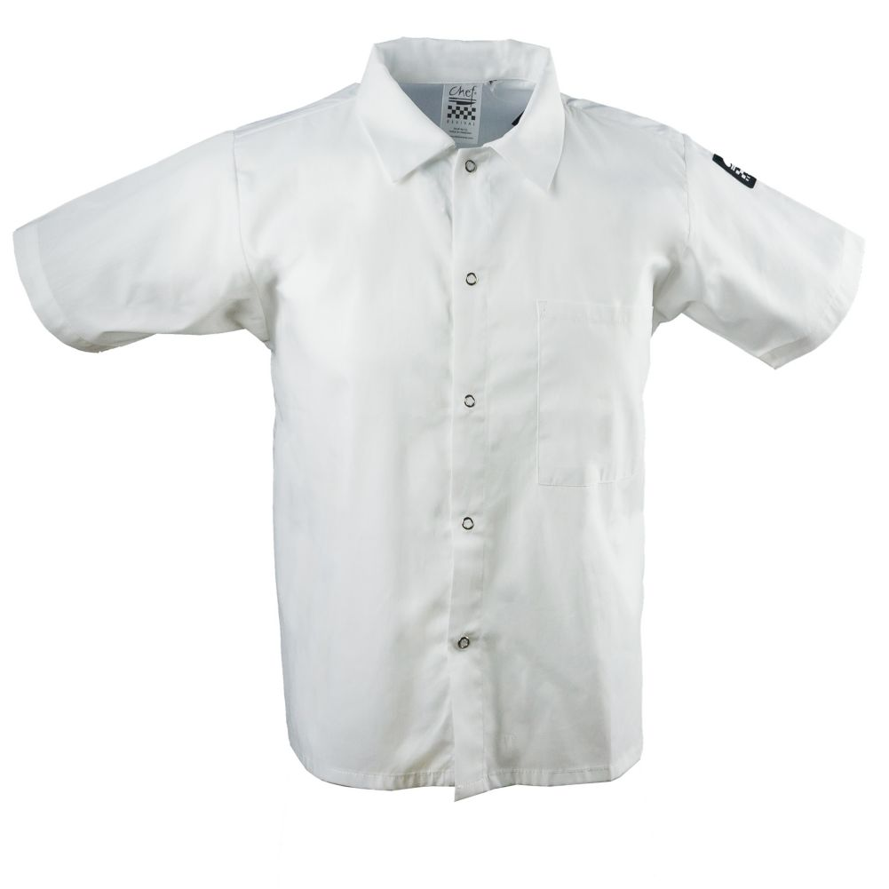 Chef Revival® CS006WH-M White Medium Cook's Shirt With Snaps