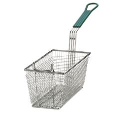 "TableCraft 42 13-3/8 x 6-1/2"" Mesh Fry Basket with Green Handle"