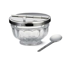 Tablecraft 71004 12 Oz. Condiment Bowl with Stainless Hinged Lid