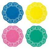 "Hoffmaster® 500100 8"" Colored Lace Doily Medley - 400 / CS"