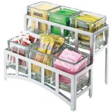 Cal-Mil 1723-39 Mission Silver 2-Tier Jar Display