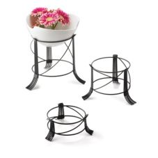 TableCraft BKRR3 Black Metal 3-Piece Round Riser Set
