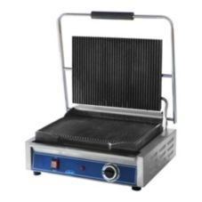 "Globe Food GPG1410 Mid Size 120v Electric 14 x 10"" Panini Grill"