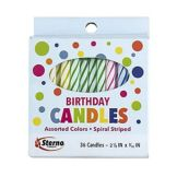 SternoCandleLamp™ 40180 Spiral Stripe Birthday Candles - 36 / PK