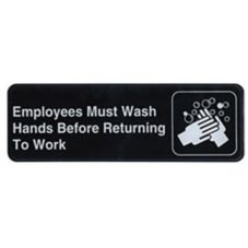 "Winco® SGN-322 Black ""Employee Must Wash Hands"" Sign"