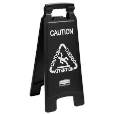 Rubbermaid 1867505 Executive Series Black Multi-Lingual Caution Sign