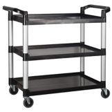 "Winco UC-40K Black 40"" x 19"" x 37-1/2 Three Tier Cart"