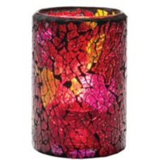 Hollowick 43017RG Crackle™ Red & Gold Cylinder Glass Lamp