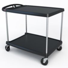 "Metro MY2636-25BL MyCart Black 27-11/16 x 40-1/4"" 2-Shelf Cart"