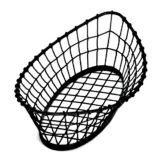 "TableCraft GM1809 Black 18"" x 9"" Oblong Metal Basket"