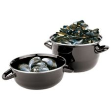 Paderno® 42414-20 Black Enamel Steel 4.4 Pound Mussel Pot Set