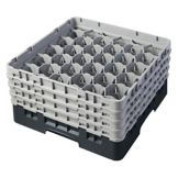 Cambro 30S800110 Black 30 Compartment Glass Rack with 4 Extenders