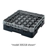 Cambro 30S434110 Black 30 Compartment Glass Rack with 2 Extenders