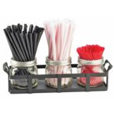 Cal-Mil 3334-13 3-Jar Straw And Stir Stick Holder