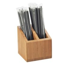 "Cal-Mil 3308-60 Bamboo 2-Slot 5 x 5 x 5-1/2"" Straw Holder"