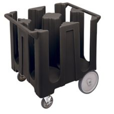 Cambro® DC1225110 Black 4 Columns Dish Caddies Cart with Cover