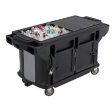 "Cambro VBRUTHD6110 Black 82"" x 27"" x 36-1/4"" Work Table with Casters"