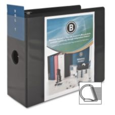 "Business Source BSN28451 Black 5"" Basic D-Ring View Binder"