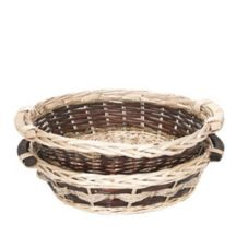 "Hills Imports 2-583WR/1 Round 16"" Basket with Wood Ear Handles"