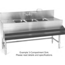Eagle® B7-3-LR-24 Spec Bar® 3-Compartment Underbar Bar Sink